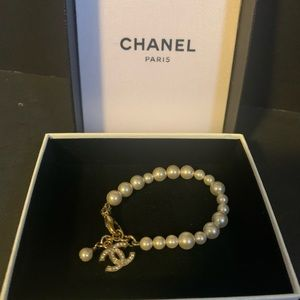 Chanel pearl gold plated bracelet